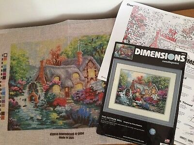 DIMENSIONS Tapestry Needlepoint Printed CANVAS & Instructions Only Cottage 41x30