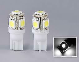 2x T10 5050 W5W 501 5 SMD LED Bulbs Car Interior Lights Side Lamp Wedge Capless