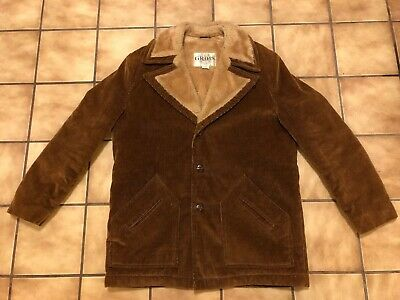Men's Corduroy Coat Tailored By Grais Sports Wear Size Reg 40 Brown Made In USA