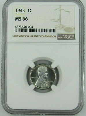 1943 War Time Steel Lincoln Cent Ngc Ms66