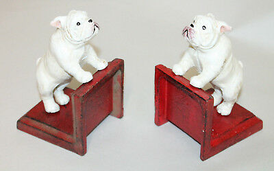 Antique Style Bulldog White Cast Iron Bookends Book Ends Decor