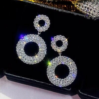 9K Real Silver  Filled  Circle Stud Earrings Made With Swarovski Crystals Ddl2
