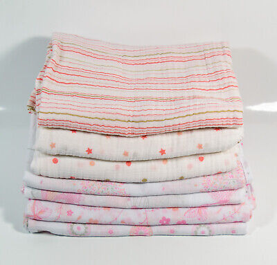7 Muslin Swaddle Cloths Blankets Baby Girl Aden and Anais Little Linen Lollypop