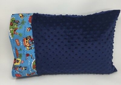 NWT Pirate Shark Blue Minky Dot Toddler Pillowcase 12x16 Boy Nap Bed Ocean Beach