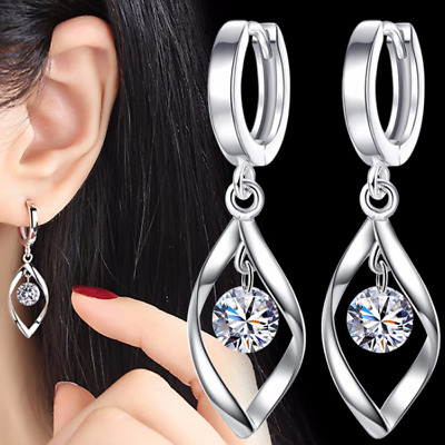 Womens Leaf Round Ball Huggie Hoop Earrings Fashion 925 Sterling Silver Plated