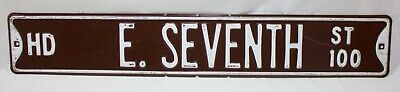 "VTG Retired East Seventh Street Brown White Embossed Metal Street Sign 36"" X 6"""