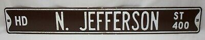 "VTG Retired North Jeffers Street Brown White Embossed Metal Street Sign 42"" X 6"""