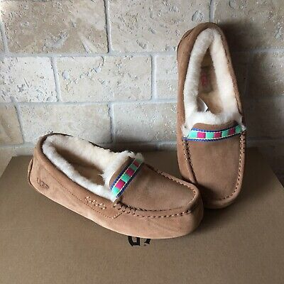 0bda3b10062 UGG ANSLEY EMBROIDERY Chestnut Suede Moccasins Slippers Shoes Size US 7  Womens