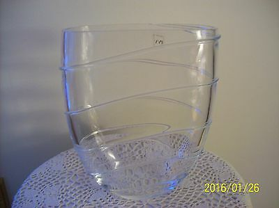IVV Crystal Vtg. Glass Mouth Blown Vase With Raised Ribbed Design Made In Italy