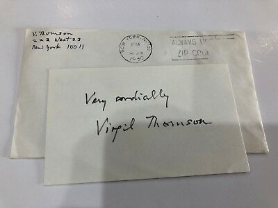 American Composer & Critic Virgil Thomson- Signed Index Card 3 x 5 1980