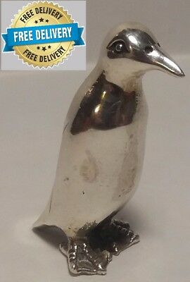 Sterling Silver 925 PENGUIN Standing Mini Figure /  Miniature Statue 38mm Heigh