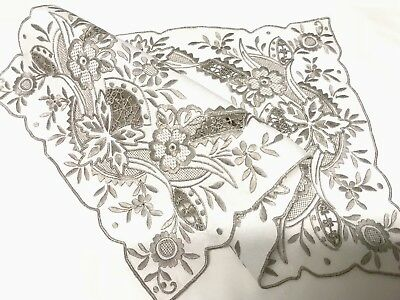Antique Vintage Hand Embroidered White Linen Silvery Taupe Table Centre Cloth