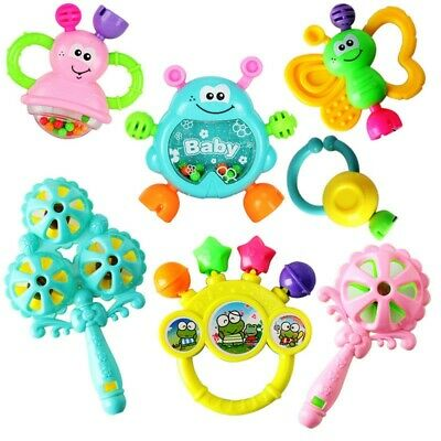 7pcs/Set Animal Hand Bells Baby Rattle Ring Toy Newborn Early Educational Doll