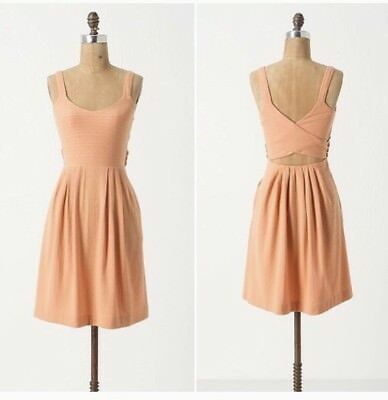 365f139234947 Anthropologie Postmark Womens Size Small Peach Coral Criss Back Swing Dress