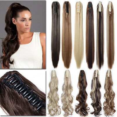 """17""""-26"""" Clip In Ponytail Pony Tail Hair Extension Claw On Hair Piece as Human CT"""