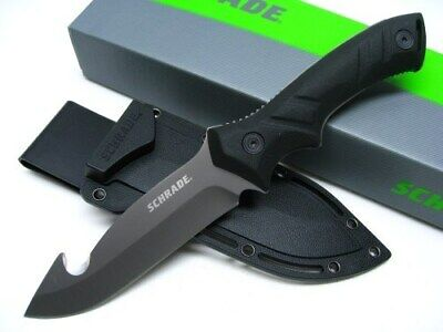Schrade SCHF31GH Tactical Black Full Tang Fixed Survival Guthook Knife + Sheath