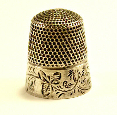 Stern Bros. Co, New York 1910, Leaf Pattern Sterling Silver 925 Thimble Size 11