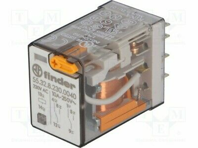 Finder 55.32.8.230.0040 Plug-in Relay 230VAC 10A 2CO DPDT
