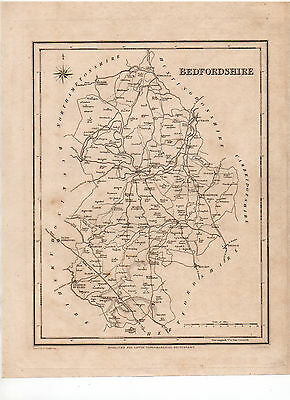 Map Of Bedfordshire Circa 1840 Original Antique