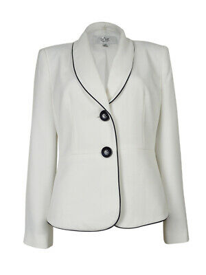 Le Suit Women's Rose Garden Two Button Blazer (4, Vanilla Ice/Navy)