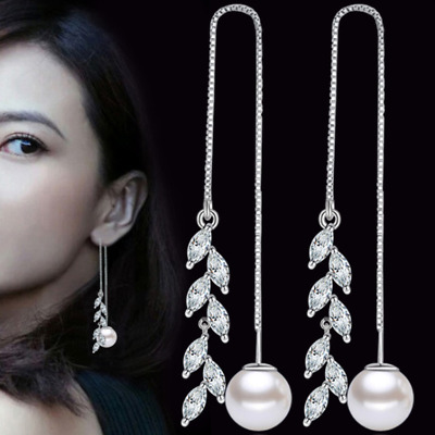 Womens Leaf And Round Pearl 925 Sterling Silver Plated Earrings Hook Drop Dangle