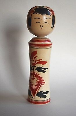 "Japanese Kokeshi Wooden Doll, 12"", Signed, Red and Black, Folk Art"