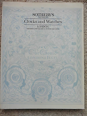 Sotheby's Auction Catalogue, Clocks And Watches, London 14th May 1987