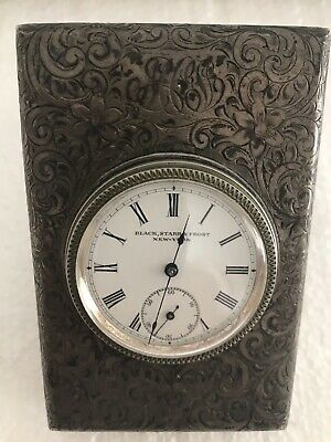 Sterling Silver Black Starr & Frost New York Vintage Swiss Made Clock Rare