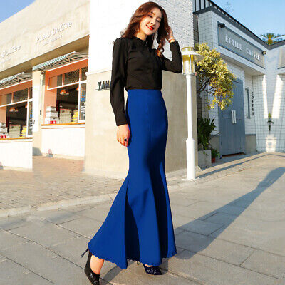 Women Mermaid Long Bodycon Skirts High Wasit Work Party Dress Solid Fashion