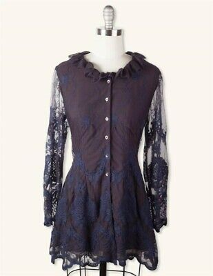 Victorian Trading Co Hopeless Romantic Blue Black Lace Corset Jacket MD