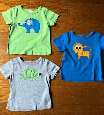 Hanna Andersson LOT of 3 Boys 3T 90 Shirts Animals Gray Green Blue