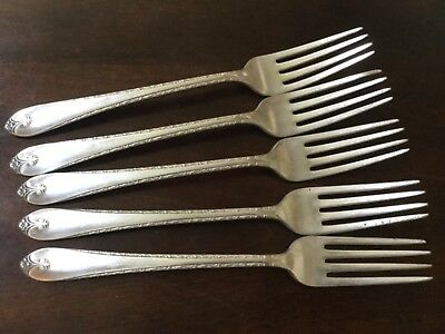 Lot of 5 Exquisite Dinner Forks Silverplate Wm Rogers & Son IS, no monogram