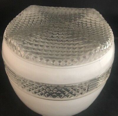 Vintage White And Clear Diamond Cut Pattern Glass Lamp Globe Round Shade