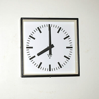 metal square wall clock PRAGOTRON - black - Factory clock - vintage loft antique