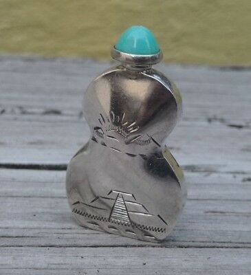 Vtg Sterling Silver 925 Mexico Perfume Bottle Guitar Shape Pyramid-Sun Etching