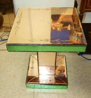 SUPERB ART DECO PEACH AND GREEN MIRROR GLASS SQUARE COFFEE Side TABLE PINK