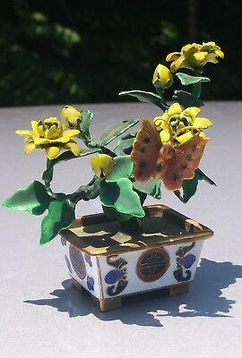Chinese Cloisonne and enamel  butterfly with  jardiniere  and yellow flowers