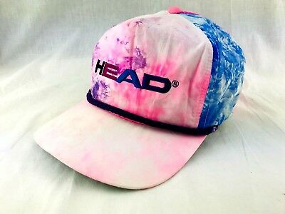 Vintage 1980s HEAD Tennis Hat Cap Tye Dye Watercolor Pink Blue Trucker Surfer