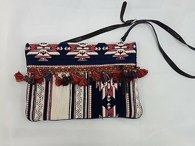 7082ec37495 NWT ZARA RED Embroidered Pom Pom Bag With Gold Link Chain Rare Ref ...