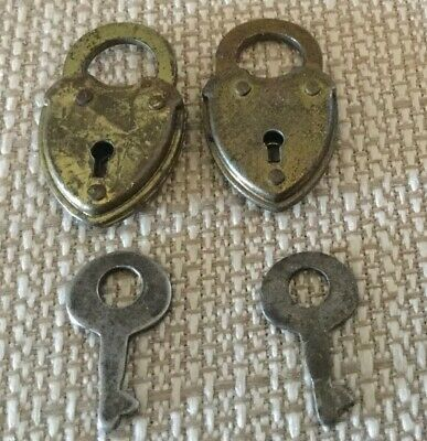 Vintage Pair Of Eagle Lock Co Heart Padlocks Matched Keys