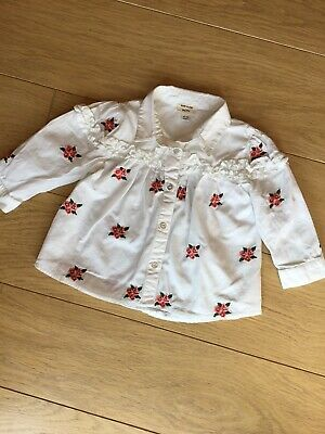 River Island Baby Girl White Floral Rose Embroidered Shirt Top 🎀 6-9 Months