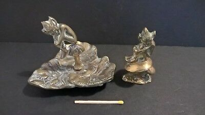 Vtg Cornish pixie souvenir brass paperweight figure tray piskie Cornwall England