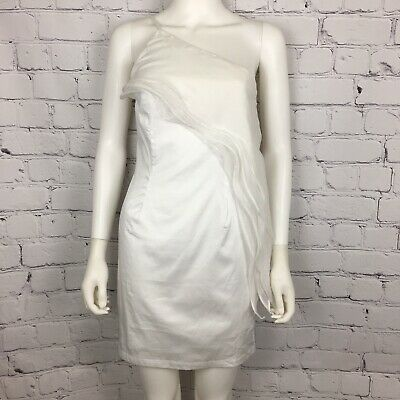 Minuet Anthropologie Women's Dress S White One Shoulder Sheer Drape