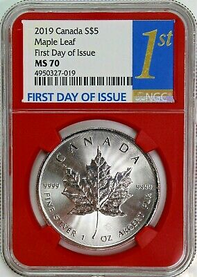 2019 $5 Canada 1 oz Silver Maple Leaf NGC MS70 First Day of Issue Red Core