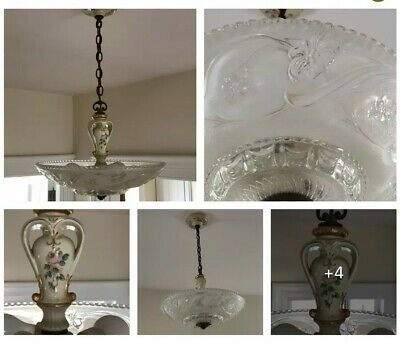 """PORCELIER Antique 16"""" Frosted Glass Shade Ceiling Light Fixture Chandelier"""