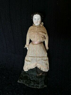 "Antique German Flat Top High Brow China Shoulder Head Doll 16"" Original Clothes"