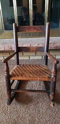 Antique Wood Rocking Chair. Wicker/Rush Seat C. Late 1800s - Early 1900s