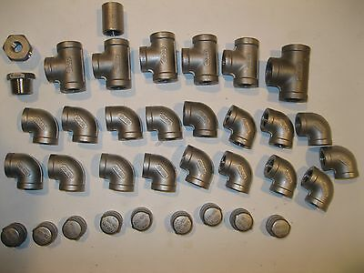 Lot Of 35 Stainless Steel (304) Caps, Tees,Couplings,Elbows & Reducers Fittings