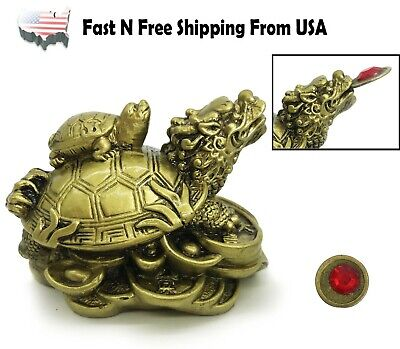 Golden Feng Shui Dragon Turtle Wealth Protection Statue Figurine Gift Home Decor