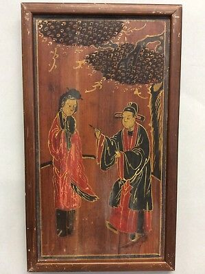 """Chinese Hand Painted Wooden Panel of Two Figures 8.25""""x14.25"""""""